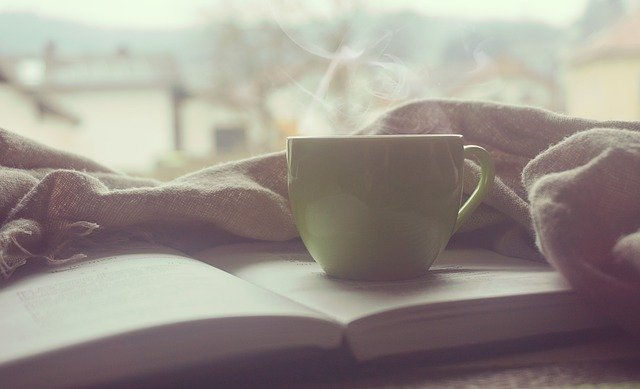 coffee, book and blanket